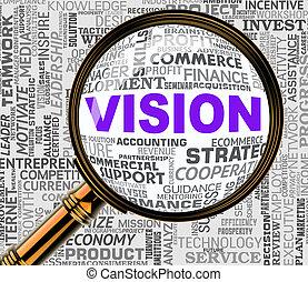 予測, 手段, 目標, レンダリング, magnifier, ビジョン, 3d