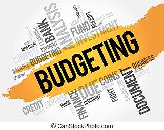 予算を組む, 単語, 雲
