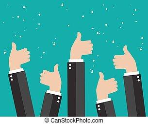 事務, 人們, 很多, 為歡呼, 拇指, 藏品
