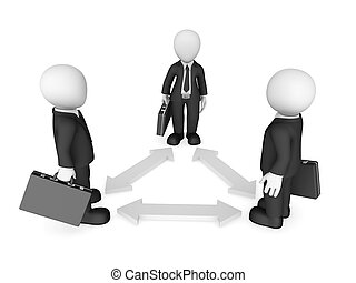 事務, 人們。, 關系, 配合, 小, concept., 3d