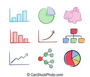 事務, 圖表, 集合, 顏色