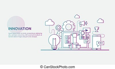 事務, 媒介, 想法, 概念, 向上, 插圖, 旗幟, 過程, 网, 印刷品, brainstorming, 認為, 光, 創造性, project., 革新, 社會, 開始, 燈泡, 燈, 著陸, 頁, 表達