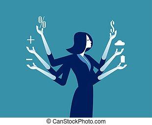 事務, 從事工商業的女性, 概念, illustration., 矢量, multitasking.
