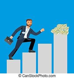 事務, 成就, 商人, attains, 成功, 以及, 到達, 他的, 目標