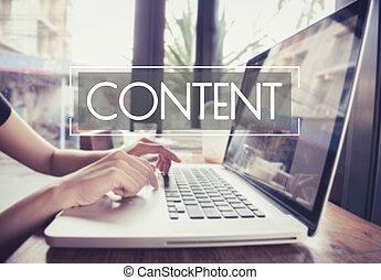 事務, 手, 鍵入, 上, a, 膝上電腦 鍵盤, 由于, 內容, 數据, blogging, 主頁, 上, the, 計算机屏幕, 媒介, 出版物, concept.