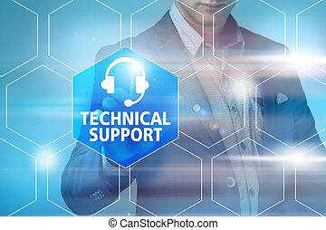 事務, 技術, 網際網路, 以及, 聯网, 概念, -, 商人, 按壓, 用戶支持, 按鈕, 上, 實際上, 屏幕