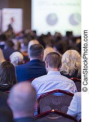 事務, 會議, 概念, 以及, ideas., 人們的組, 參加會議, 以及, 听, 到, the, 主人, speaker., 背, 觀點。