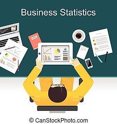事務, 統計數字, 概念, illustration., 套間, 設計, 插圖, 概念, 為, 事務, 財政, 管理, 工作, 分析, brainstorming.