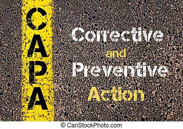 事務, 縮寫, capa, 矯正, 以及, 預防性, 行動