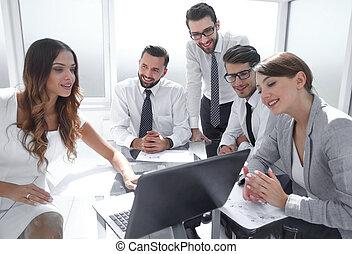 事務, 膝上型, 工作, 使用, 隊會議
