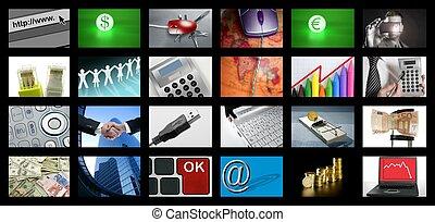 事務, 電視, 大的屏幕, 網際網路, 面板