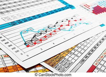事務, 顯示, 圖表, 趨勢, 銷售