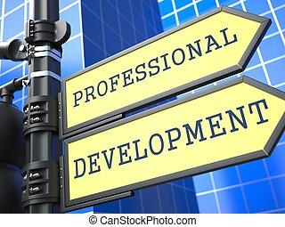 事務, concept., 專業人員, 發展, 徵候。