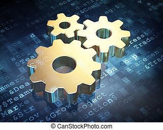 事務, concept:, 黃金, 齒輪, 上, 數字的背景
