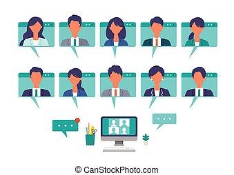 事実上, ビジネス 実例, 人々, system., テレコミューティング, コミュニケーション, 持つこと, ベクトル, frames., を経て, 窓