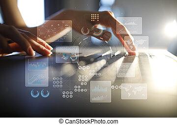 事実上, 感触, screen., プロジェクト, management., データ, analysis., hitech, 技術, 解決, ∥ために∥, business., development., アイコン, そして, グラフ, バックグラウンド。, インターネット, そして, technology.