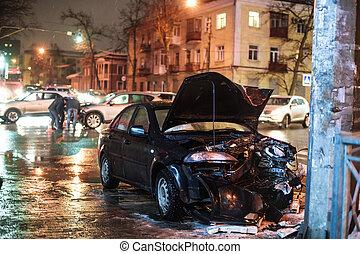 事故, 浅い, 道, 自動車, 夜, フィールド, 深さ