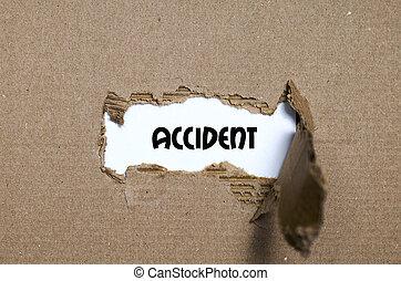 事故, 現われる, 引き裂かれた, の後ろ, ペーパー, 単語