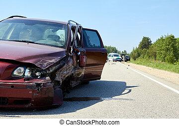 事故, 自動車, 後で, 前部, 側, 道