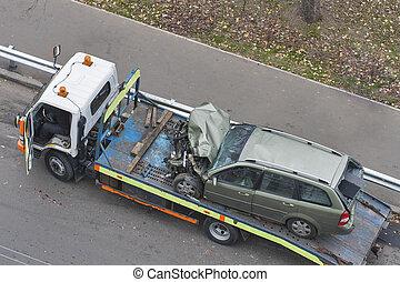 事故, 自動車, 後で, 牽引, shipped, トラック, 道