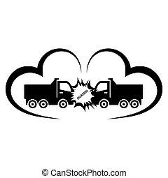 事故, 衝突, トラック, 大破, 自動車, 2, 保険, ハイウェー
