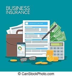 事業保険, 概念, ベクトル, illustration., 印, 契約, 合意, から守りなさい, ビジネス, から,...