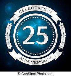 二十五年, 周年紀念慶祝, 由于, 銀, 戒指, 以及, 帶子, 上, 藍色, 背景。, 矢量, 插圖