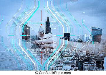 二重露光, の, 成功, ビジネスマン, 使うこと, デジタルタブレット, ∥で∥, ロンドン, 建物, そして, 社会, 媒体, 図