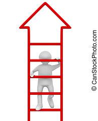 二階に, イメージ, 隔離された, バックグラウンド。, 歩く, 白, 人, 3d
