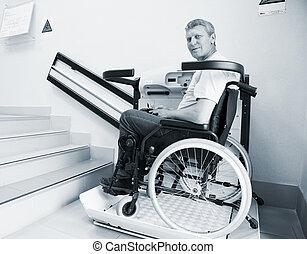 二階に, 無効, 上昇, 歩く, 装置, 椅子, 特別, 人