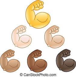 二頭筋, 手, 曲げられた, emoji