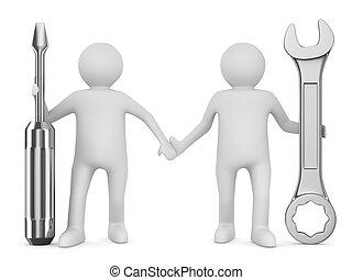 二, 人, 带, wrench, 同时,, screwdriver., 隔离, 3d, 形象