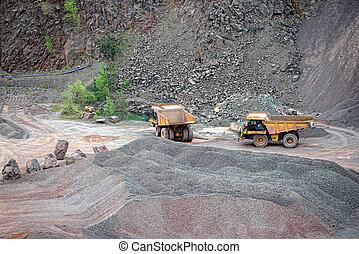 二, 堆存處, 卡車, 在, a, 采石場