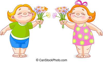二, 嬰孩, 由于, 花束