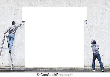 二, 工人, 是, 绘画, 空白, 区域, 在上, 墙壁