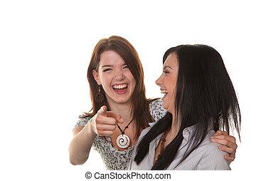 二, 年輕婦女, 爆發, 進, 笑聲