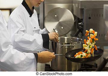 二, 廚師, 工作, 在, a, 忙, 廚房
