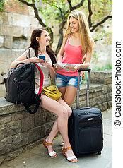 二, 愉快, 女孩, 在休假, 由于, 行李