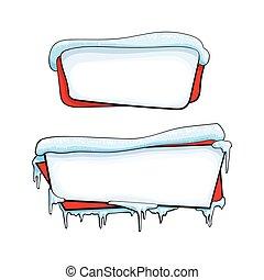 二, 水平, 卡通, 聖誕節, 冬天, 旗幟