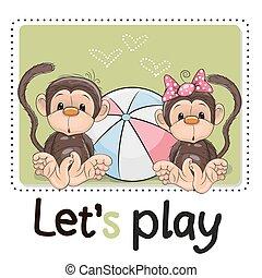 二, 漂亮, 猴子