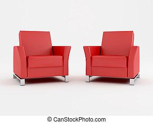 二, 紅色, 扶手椅子