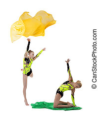 二, 美麗, 体操運動員, 跳舞, 由于, 飛行, 織品