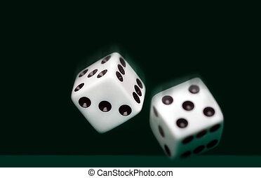 二, 骰子, 在上, 绿色的背景