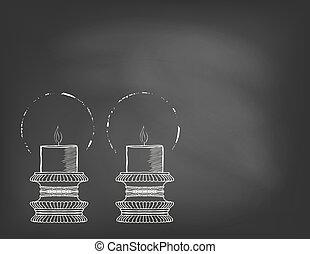 二, 高度, 裝飾, 蜡燭, 上, 黑板