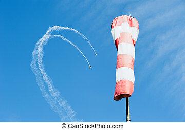 二, single-engine, 飛機, 在, the, 天空, 平局, a, 圈, 在外, ......的, 云霧, 在背景上, 風向