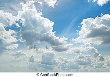 云霧, 在, the, 藍色的天空