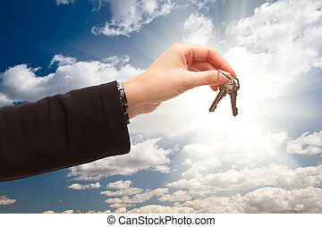 云霧, 女性, 鑰匙, 在上方, 天空, 藏品, 對, 在外