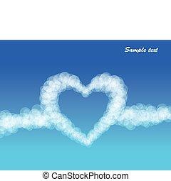云霧, 心, 上, 天空, 背景。, 矢量