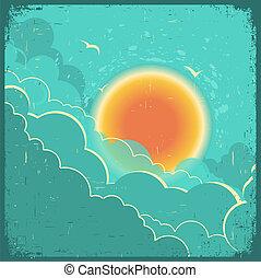 云霧, 葡萄酒, 天空, 黑暗, 老, 紙, 正文, 背景, 海報, 太陽