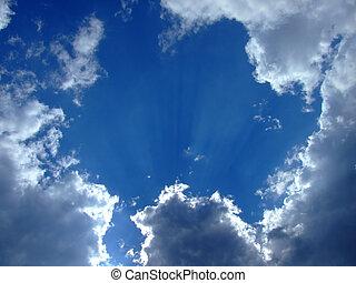 云霧, sky., 天空, 多雲, 1, 背景。, 背景